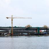 New highway bridge under construction — Stock Photo