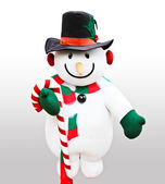 Cute snowman doll captured in close up over white background — Stock Photo