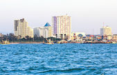 The view from the sea of the buildings and skyscrapers in Srirac — Стоковое фото