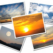 Collage of Sky postcards isolated on white background — Stock Photo