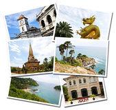 Collage of Phuket, Thailand postcards isolated on white backgrou — Stock Photo