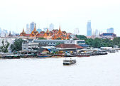 Aerial view of Grand palace with Chao Phraya river — Stock Photo