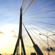 The Rama VIII bridge over the Chao Praya river at sunset in Bang — Stock Photo