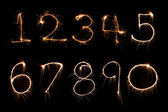 Sparkler firework light Number alphabet — Stock Photo