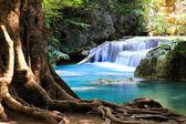Beautiful Waterfall at Erawan National Park in Kanchanaburi ,Tha — Stock Photo