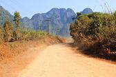 On a rural road ,Vang Vieng ,Laos. — Stock Photo
