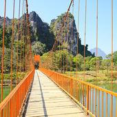 Bridge over Song River, Vang Vieng, Laos. — Stock Photo