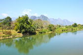 Landscape by the Song River at Vang Vieng, Laos. — Stock Photo