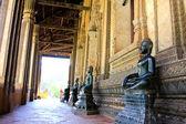 Bronze Buddha statue at the Haw Phra Kaew, Vientiane, Laos. — Stock Photo