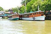 Boats on Chao Phraya river ,Nonthaburi ,Thailand. — Stock Photo