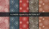 花のシームレスなパターン。ベクトルを設定. — ストックベクタ