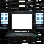 Blank server computer screen in modern interior data Center, server room — Stock Photo #40302435