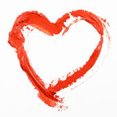 Hand-drawn painted red heart — Stock Photo
