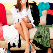 Woman chooses shoes for a party — Stock Photo