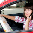 Beautiful girl in the car — Stock Photo