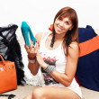 Girl happy new shoes — Stock Photo