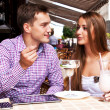 Girl with guy in cafe — Stock Photo