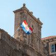 Old clock and croatian flag. — Stock Photo