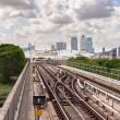 The railway tracks of Docklands Light Railway — Stock Photo