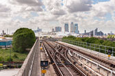 Die Gleisanlagen der Docklands light railway — Stockfoto