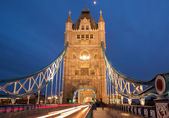 Tower Bridge with motion blurred car lights — Stock Photo
