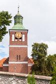 Church tower in Wegorzewo, Masurian Lake District — Stock Photo