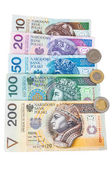 Set of polish banknotes and coins — Stock Photo