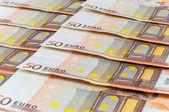 Background of 50 euro banknotes — Stock Photo