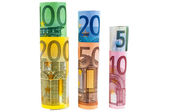 Set of rolled euro banknotes — Stock Photo