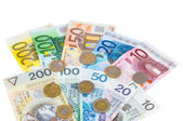Euro and new polish zloty banknotes with coins — Stock Photo