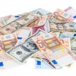 Heap of dollar and euro banknotes — Stock Photo #49234999