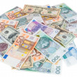 Heap of dollar, euro and polish zloty banknotes — Stock Photo
