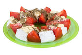 Salad with tomatoes and blue cheese — Stock Photo