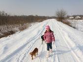 Walk on snow — Stock Photo