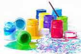 пролитая краска бутылки — Стоковое фото