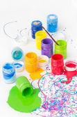 Spilled paint bottles — Stock Photo