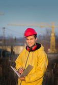 Engineer on building site — Stock Photo