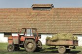 Hay in trailer — Stock Photo
