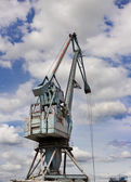 Crane in harbor — Stock Photo