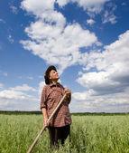 Farmer in field — Stock Photo