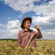 Old man in barley field — Stock Photo #48265921