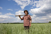 Peasant in oat field — Stock Photo