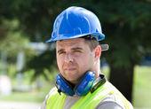 Worker with helmet — Stock Photo