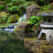 Rock lantern in portland japanese garden — Stock Photo