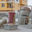 Stock Photo: Cement mixer with barrel and plastic cement mixing trough