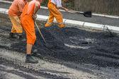 Road construction crew — Stock Photo