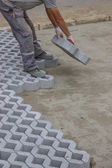Worker paving new parking places 9 — Foto Stock
