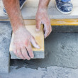 Stock Photo: Worker puts concrete pavers 2