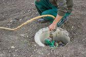 Connection garden hose on underground irrigation system 3 — Stock Photo