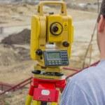 Land surveyor behind theodolite 4 — Stock Photo